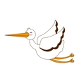 stork flying isolated icon vector image vector image