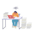 tired woman employee sitting at desk in office vector image