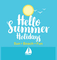 travel banner with sea sailboat and sun vector image vector image