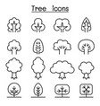 tree icon set in thin line style vector image vector image