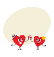 two hearts clinking glasses celebrating couple vector image vector image