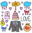 wedding doodle style vector image vector image