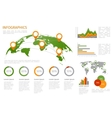 world map 3d with set infographics elements vector image