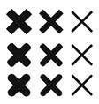 x cross delete remove icon shape vector image vector image