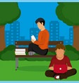youneg mens studying at park vector image vector image
