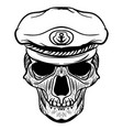 vintage naval skull drawing and captain hat vector image
