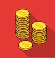 golden coins icon in flat style isolated on white vector image