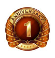 1 years anniversary golden label with ribbon vector image vector image