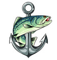 anchor and fish white vector image vector image