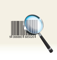 Bar code under a magnifying glass vector image vector image