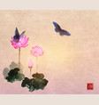 big butterflies and lotus flowers on vintage vector image