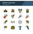 brazil carnival icons filled outline design vector image vector image