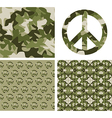 Camouflaged peace patchs vector image