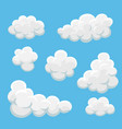 cartoon clouds set on a blue background vector image vector image