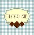 chocolate label in retro style on squared vector image
