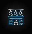 christmas fireplace creative line modern vector image