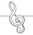 continuous line treble clef music concept vector image