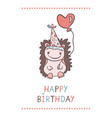cute cartoon hedgehog with heart shaped balloon vector image