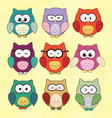 Cute Cartoon Owls vector image vector image