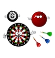 Dartboard bowling and billiard sport items vector image vector image