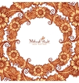 Decorative round frame in Indian mehndi style vector image vector image