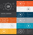 digital content infographic 10 line icons banners vector image