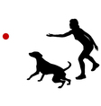 Dog training with ball vector image vector image