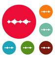 equalizer sound radio icons circle set vector image vector image