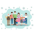 family members with face masks vector image
