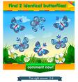 find 2 identical butterflies vector image vector image