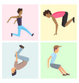 fitness sport parkour cards people concept young vector image vector image