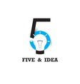 Five number icon and light bulb abstract logo vector image