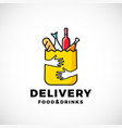 food and drinks delivery abstract sign or vector image vector image