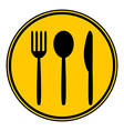 Fork spoon and knife button vector image vector image