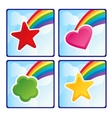 Four buttons set with rainbow vector image