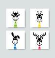 funny cartoon animals with long necks vector image