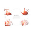 gas production plant workers at pipeline vector image vector image