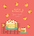 Greeting card with funny birds vector image vector image