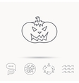 Halloween pumpkin icon Scary smile sign vector image vector image