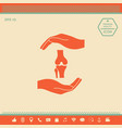 hands holding knee-joint - protection symbol vector image
