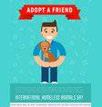 happy man is hugging an adopted dog vector image