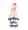happy new year card with cute husky dog in santa vector image vector image