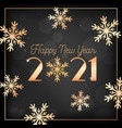 happy new year card with gold snow flakes vector image