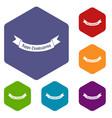 happy thanksgiving day ribbon icons set vector image
