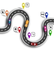 Infographic Winding road with signs 3D Cars vector image vector image