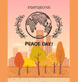 international peace day colorful logo with earth vector image