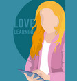 love learning cartoon design vector image vector image