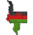 Malawi map with flag inside vector image