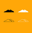 mountain set black and white icon vector image
