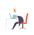 overworked exhausted man sitting at his working vector image vector image